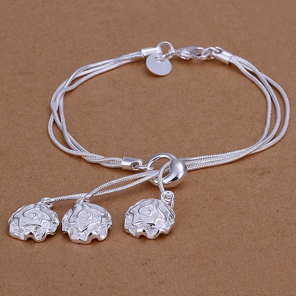 Vienna Jewelry Sterling Silver Trio-Floral Petals Dangling Bracelet