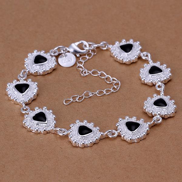 Vienna Jewelry Sterling Silver Triangular Sapphire Gem Bracelet