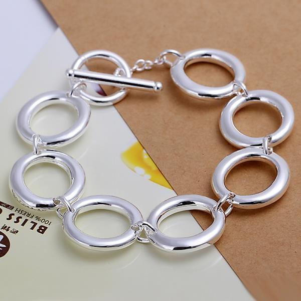 Vienna Jewelry Sterling Silver Multi Hollow Circular Bracelet