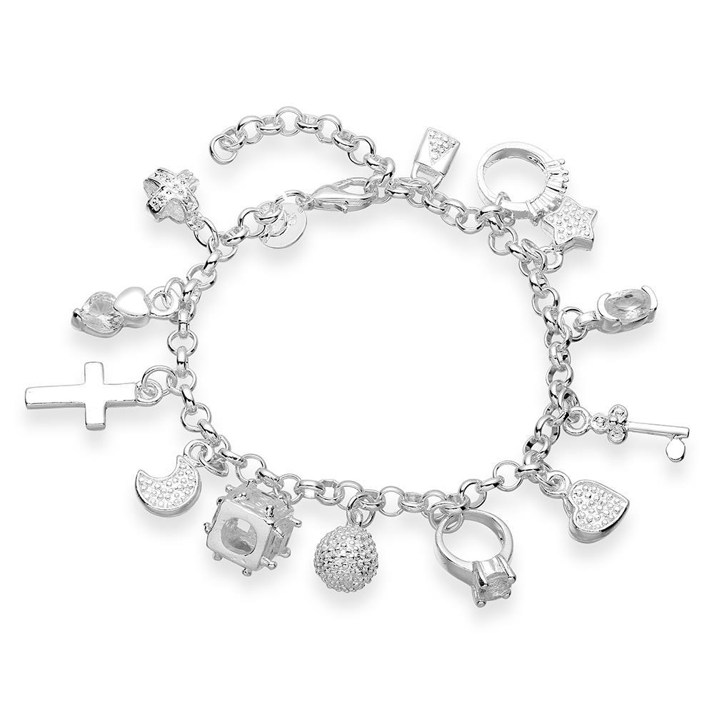 Vienna Jewelry Sterling Silver Muli-Charms Bracelet