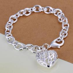 Vienna Jewelry Sterling Silver Laser Cut Heart Shaped Bracelet - Thumbnail 0
