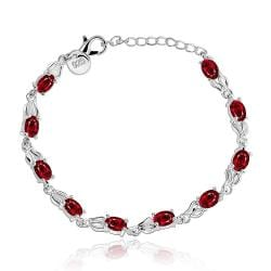 Vienna Jewelry Sterling Silver Multi Ruby Gem Bracelet - Thumbnail 0