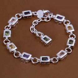 Vienna Jewelry Sterling Silver Multi Square Rainbow Gems Bracelet - Thumbnail 0