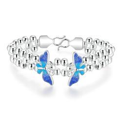 Vienna Jewelry Sterling Silver Sapphire Wings Bracelet - Thumbnail 0