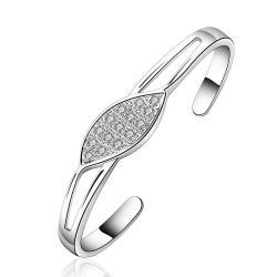 Sterling Silver Laser Cut Crystal Leaf Bangle - Thumbnail 0