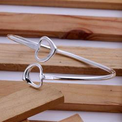 Sterling Silver Open Ended Heart Shaped Bangle - Thumbnail 0