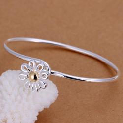 Sterling Silver Petite Floral Emblem Bangle - Thumbnail 0