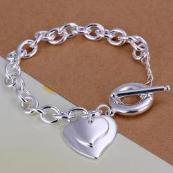 Vienna Jewelry Sterling Silver Duo Heart Shaped Clasp Bracelet - Thumbnail 0