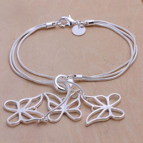 Vienna Jewelry Sterling Silver Trio-Hollow Dangling Butterfly Bracelet