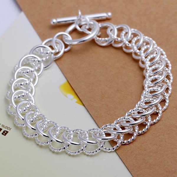 Vienna Jewelry Sterling Silver Multi Chain Lock Bracelet