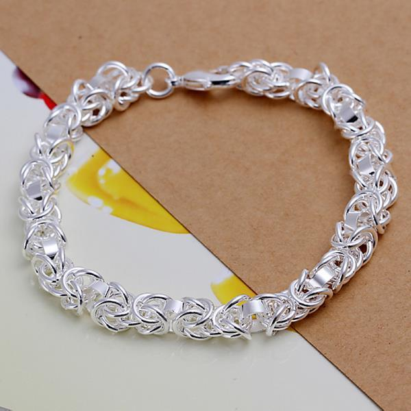 Vienna Jewelry Sterling Silver Multi-Chain Interlocked Closure Bracelet