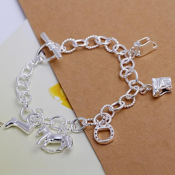Vienna Jewelry Sterling Silver Multi-Charms Interlocked Bracelet