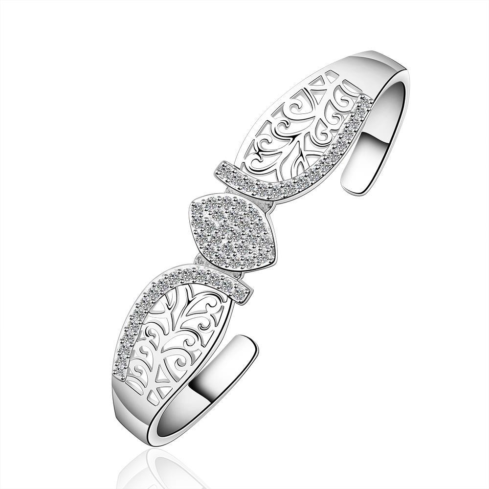 Vienna Jewelry Sterling Silver Laser Cut Floral Inspired Bangle