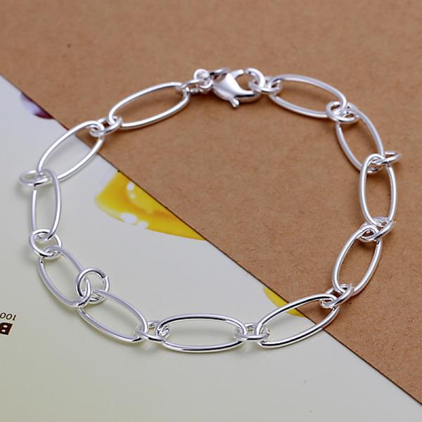 Vienna Jewelry Sterling Silver Curved Emblem Bracelet