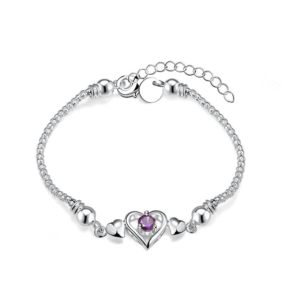 Vienna Jewelry Sterling Silver Petite Purple Citrine Heart Shaped Bracelet