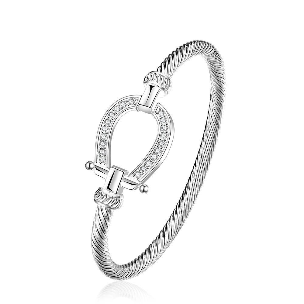 Vienna Jewelry Sterling Silver Horse Shoe Lock Open Bangle