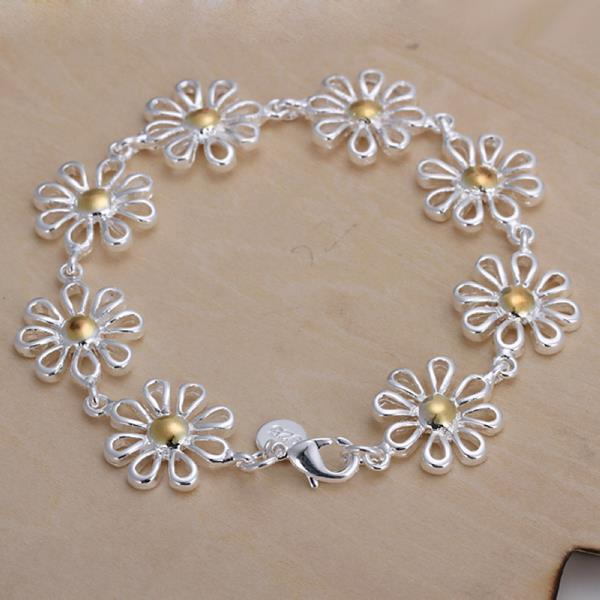 Vienna Jewelry Sterling Silver Multi-Hollow Floral Petal Bracelet