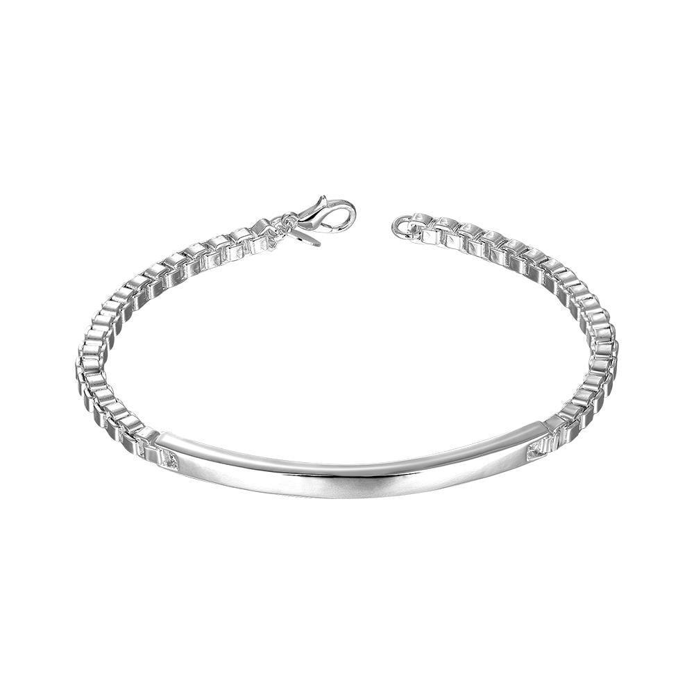 Vienna Jewelry Sterling Silver Vertical Plate Petite Bracelet