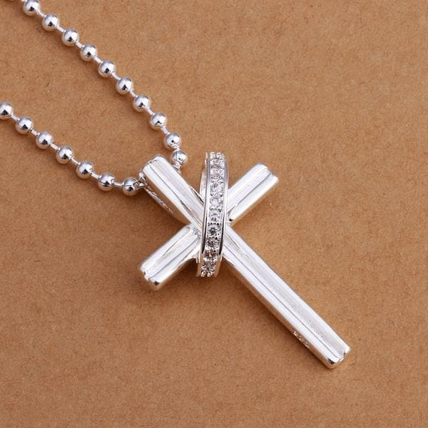 Vienna Jewelry Sterling Silver Cross & Crystal Band Drop Necklace