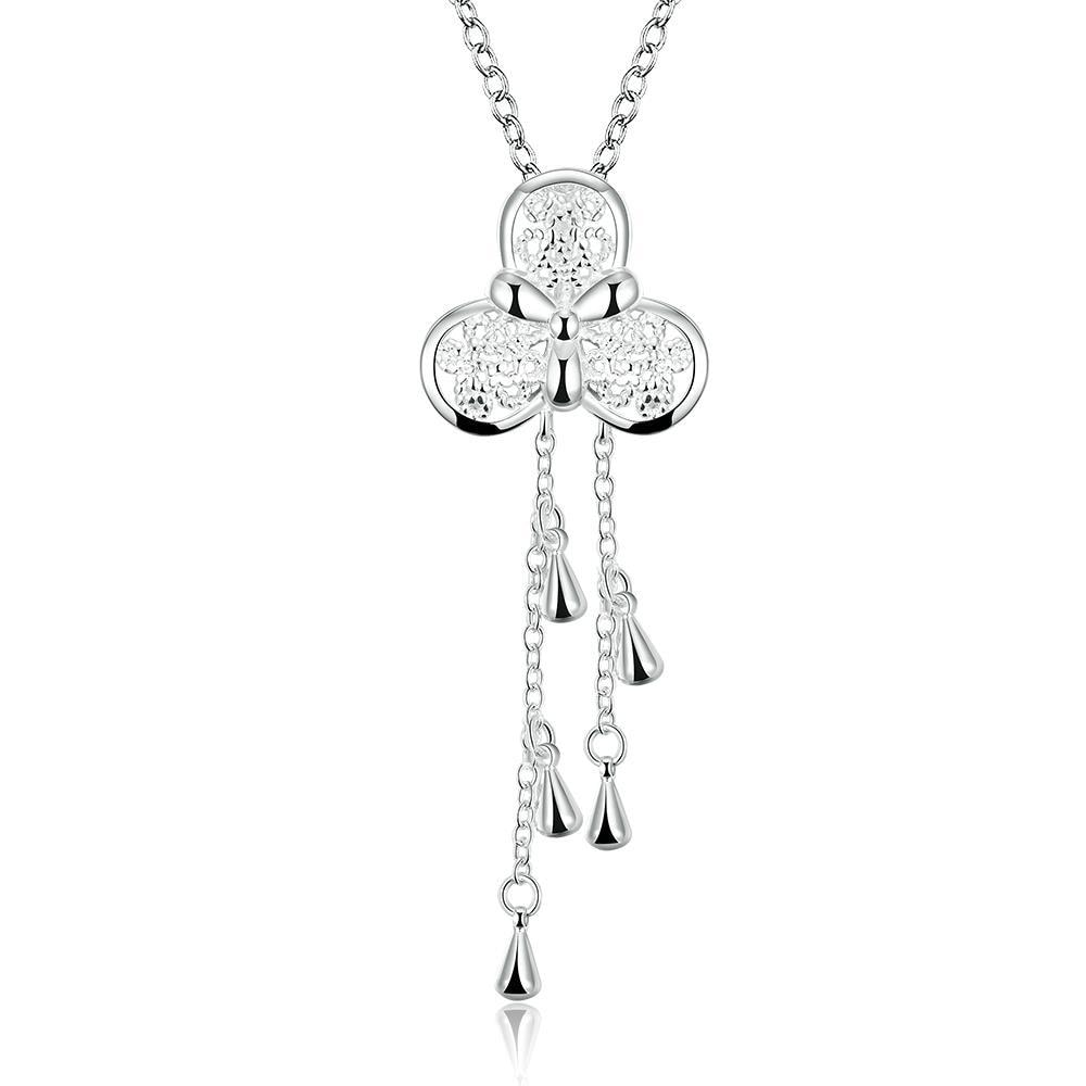 Vienna Jewelry Slver Tone Clover Stud Dangling Necklace
