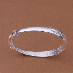 Sterling Silver Multi Lined Open Bangle - Thumbnail 0