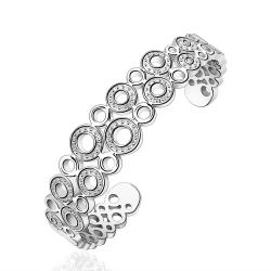Vienna Jewelry Sterling Silver Multi Hollow Circular Classic Bangle - Thumbnail 0