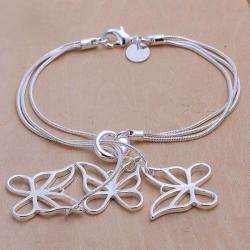 Vienna Jewelry Sterling Silver Trio-Hollow Dangling Butterfly Bracelet - Thumbnail 0