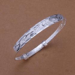 Sterling Silver Laser Cut Art Design Open Bangle - Thumbnail 0