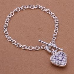 Vienna Jewelry Sterling Silver Purple Citrine Infused Emblem Bracelet - Thumbnail 0
