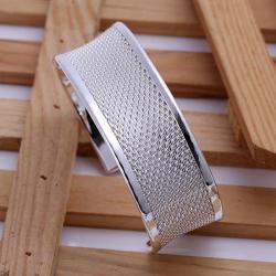Sterling Silver Open Bangle Laser Cut Bangle - Thumbnail 0