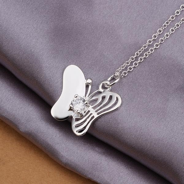 Vienna Jewelry Sterling Silver Laser Cut Petite Butterfly Necklace