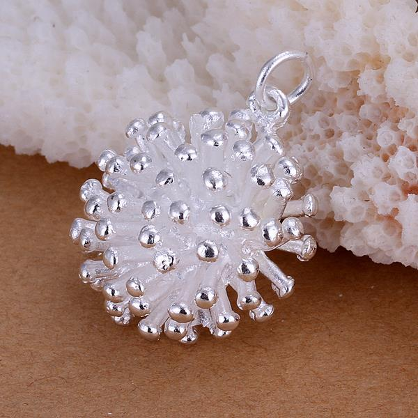 Vienna Jewelry Sterling Silver Spiked Pav'e Ball Pendant