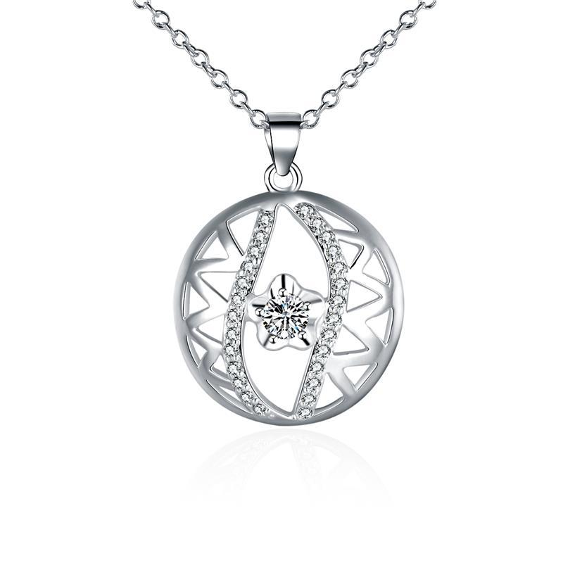 Vienna Jewelry Sterling Silver Laser Cut & Crystal Pendant Necklace