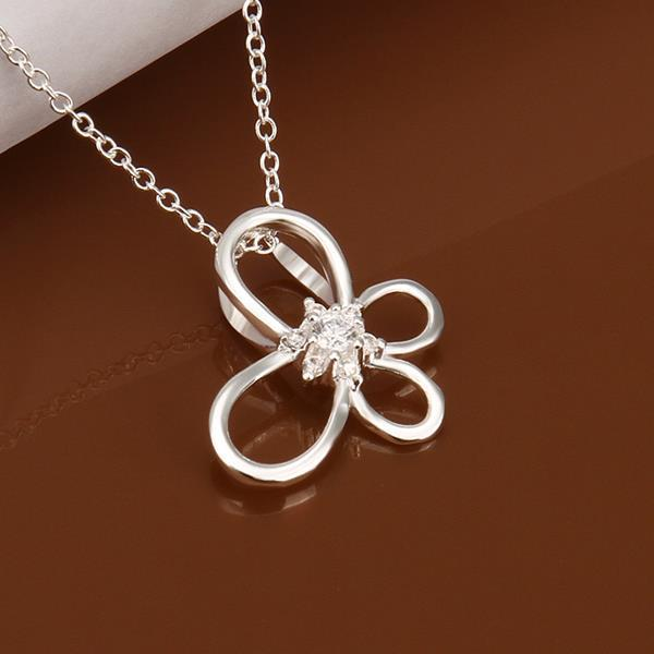 Vienna Jewelry Sterling Silver Hollow Clover Drop Necklace