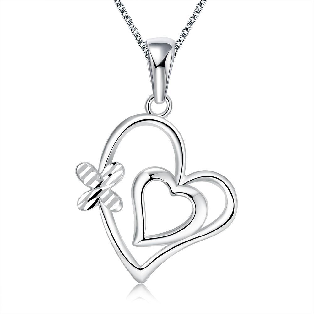 Vienna Jewelry Sterling Silver Duo Petite Heart Necklace