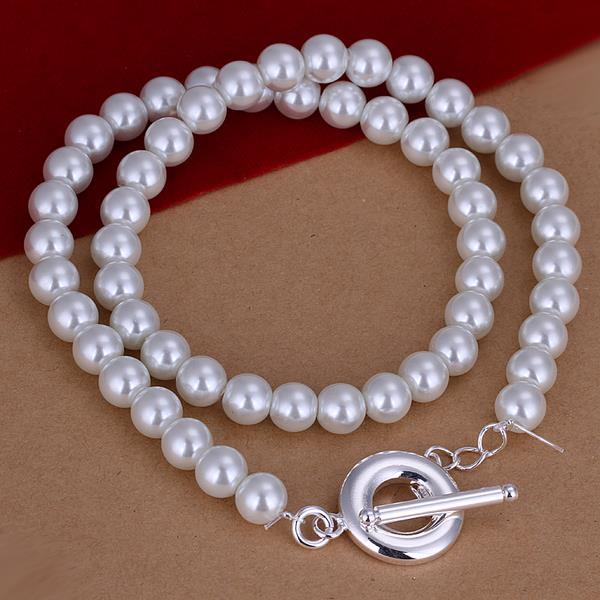 Vienna Jewelry Sterling Silver Ivory Bead Clasp Necklace