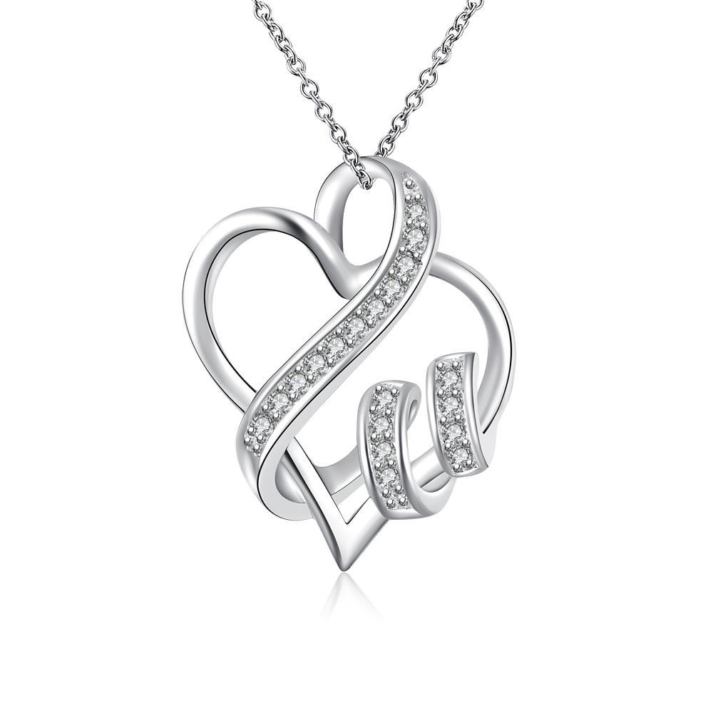 Vienna Jewelry Sterling Silver Curved Heart Shaped Pendant Necklace