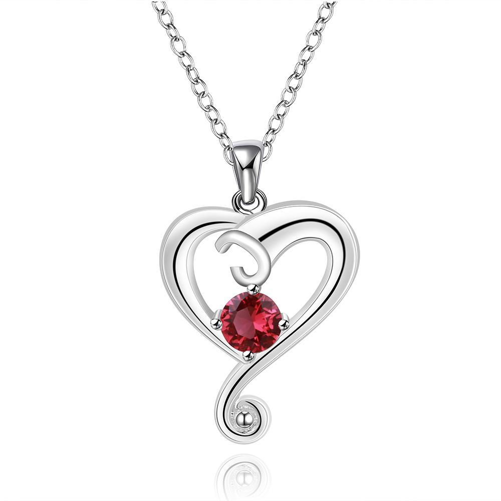 Vienna Jewelry Sterling Silver Ruby Red Curved Heart Dangling Drop Necklace