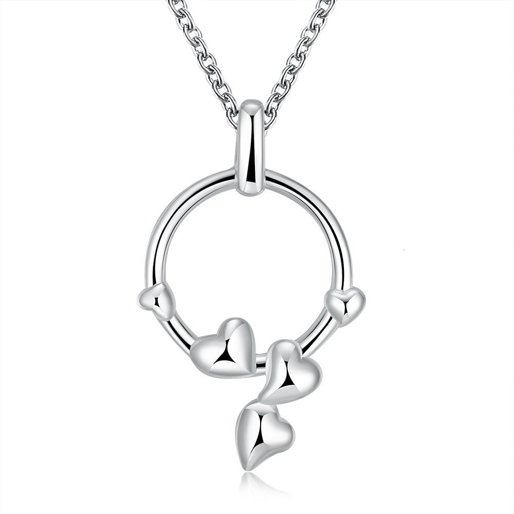 Vienna Jewelry Sterling Silver Circular Dangling Heart Necklace