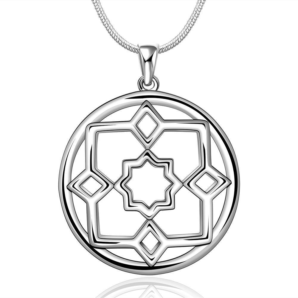 Vienna Jewelry Sterling Silver Circular Hollow Square Drop Necklace