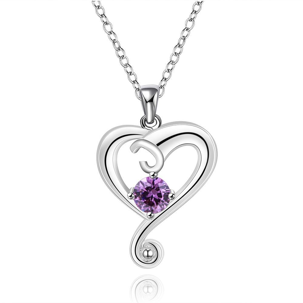 Vienna Jewelry Sterling Silver Purple Citrine Curved Heart Dangling Drop Necklace