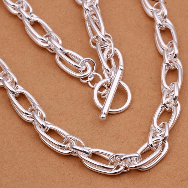 Vienna Jewelry Sterling Silver Mid Size Interlocked Chain Necklace