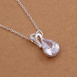 Vienna Jewelry Sterling Silver Classic Crystal Drop Necklace - Thumbnail 0