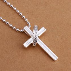 Vienna Jewelry Sterling Silver Cross & Crystal Band Drop Necklace - Thumbnail 0