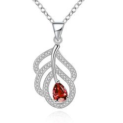 Vienna Jewelry Sterling Silver Petite Ruby Leaf Branch Drop Necklace - Thumbnail 0