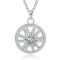 Vienna Jewelry Sterling Silver Circular Pendant Drop Necklace - Thumbnail 0