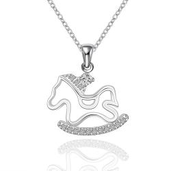 Vienna Jewelry Sterling Silver Running Pony Pendant Necklace - Thumbnail 0
