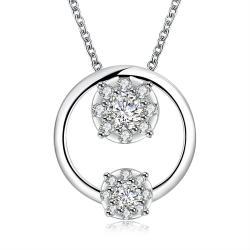 Vienna Jewelry Siler Tone Duo-Crystal Circular Pendant Necklace - Thumbnail 0