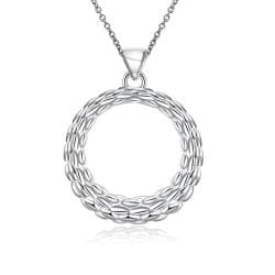 Vienna Jewelry Sterling Silver Intertwined Circular Pendant Necklace - Thumbnail 0