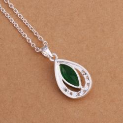 Vienna Jewelry Sterling Silver Emerald Emblem Pendant - Thumbnail 0